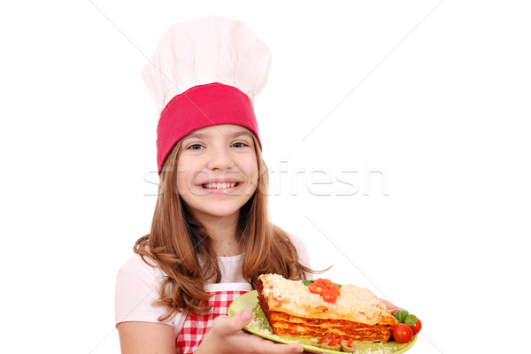 Boldog kislány szakács olasz lasagne mosoly Stock fotó © goce