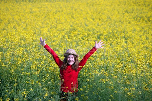 Kislány kezek magasban mező tavasz évszak égbolt Stock fotó © goce