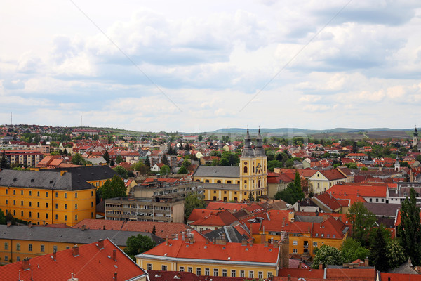 church and buildings Eger Hungary cityscape Stock photo © goce