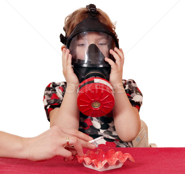 child defend himself from tobacco smoke Stock photo © goce