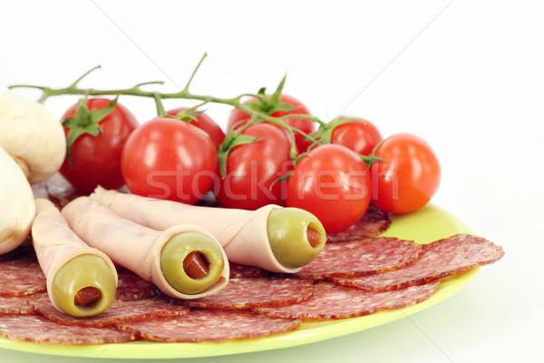Salami olijven tomaten buffet voedsel vruchten Stockfoto © goce