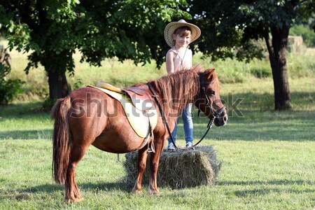 Stock photo: happy boy with pony horse on field