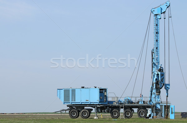 geology and oil exploration mobile drilling rig vehicle on field Stock photo © goce