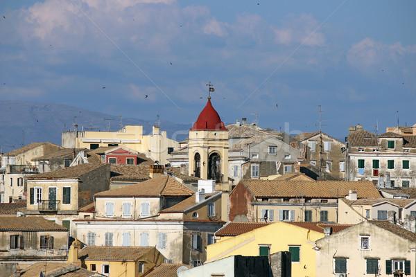 swallow flying over Corfu town Stock photo © goce