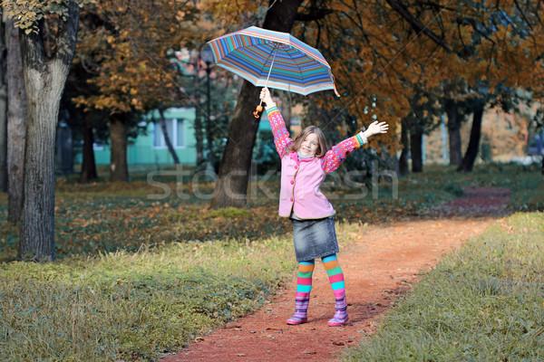 Heureux petite fille parapluie parc saison d'automne fille Photo stock © goce