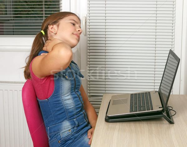 女の子 痛み 首 ラップトップを使用して コンピュータ 作業 ストックフォト © goce