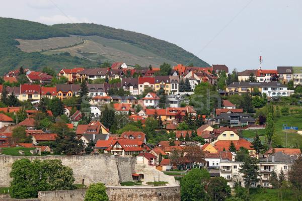 Erőd házak domb városkép épület zöld Stock fotó © goce