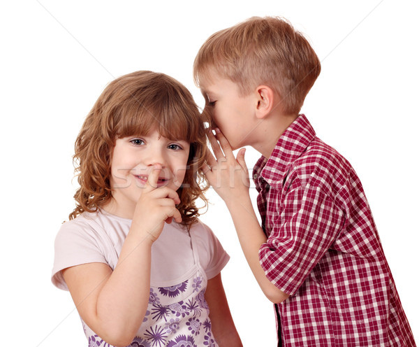 boy whispering a secret little girl  Stock photo © goce