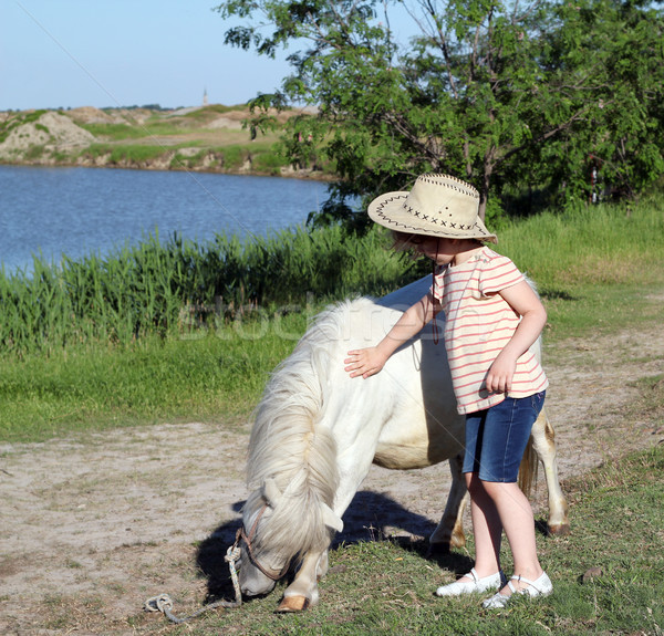 Nino vaquero poni caballo nina campo Foto stock © goce