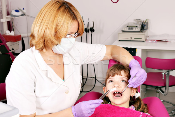 dentist and little girl patient Stock photo © goce