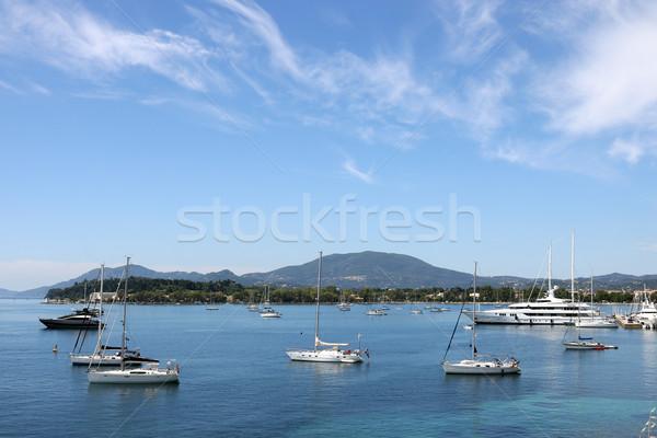 yacht and sailboats Garitsa bay Corfu island Greece Stock photo © goce