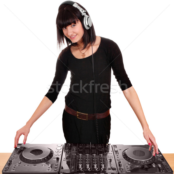 beauty girl dj with turntables Stock photo © goce