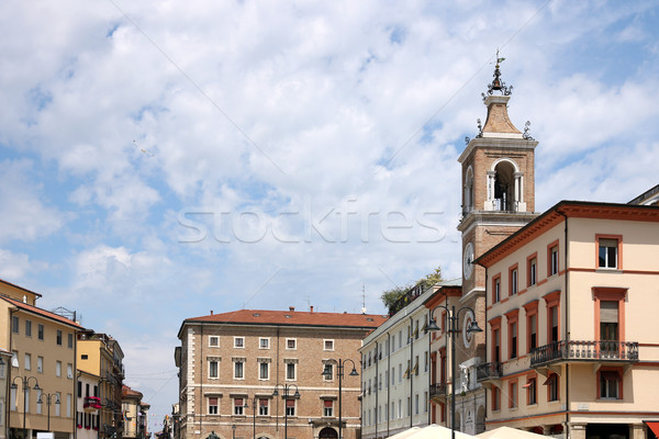 old buildings and clock tower Piazza Tre Martiri Rimini Italy Stock photo © goce