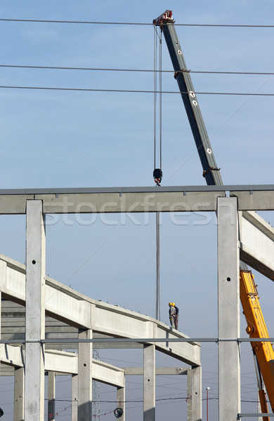 construction site with workers and crane Stock photo © goce