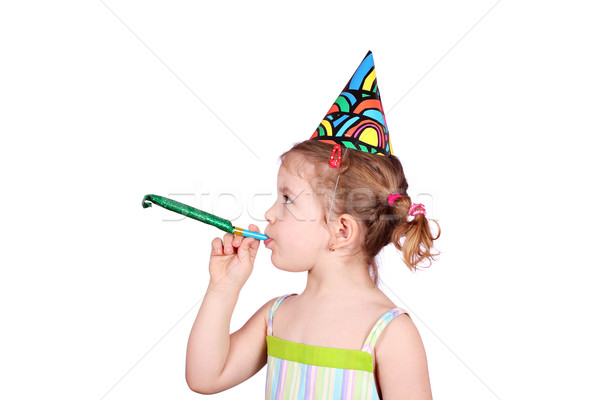 little girl with birthday hat and trumpet party  Stock photo © goce