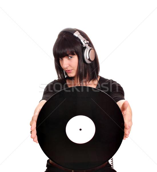 Piękna dziewczyna lp zabawy młodych dźwięku Zdjęcia stock © goce