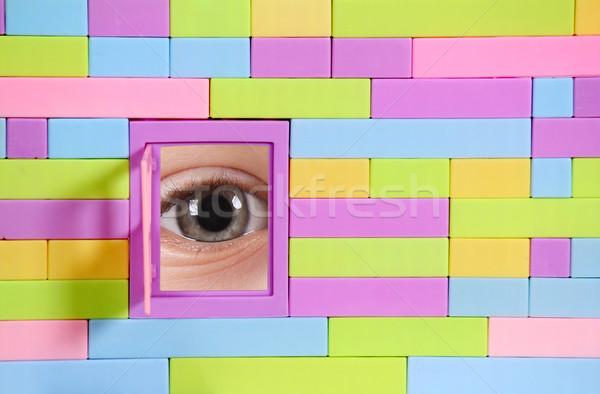 Stock fotó: Játék · téglafal · ablak · szem