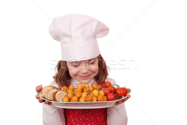 little girl cook smell gourmet food Stock photo © goce