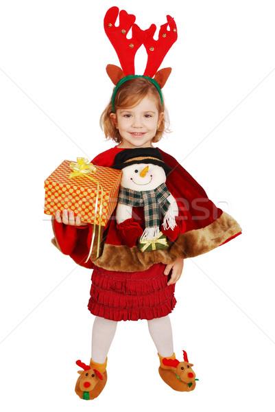 Feliz nina mantener Navidad regalo nino Foto stock © goce