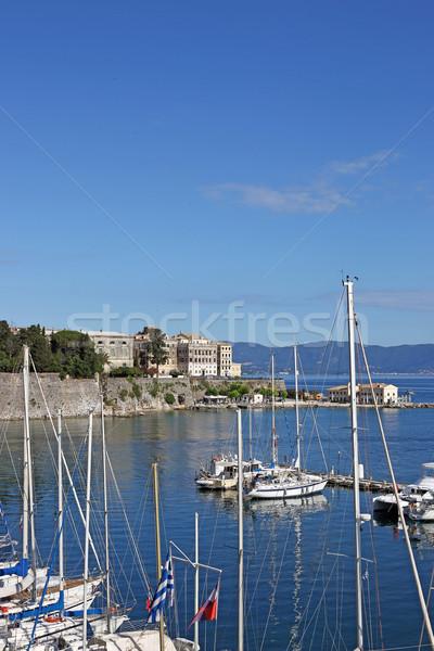 Stock fotó: Város · kikötő · víz · tájkép · nyár · kék