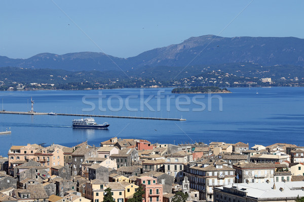 ferry boat sailing near Corfu town Greece summer season Stock photo © goce