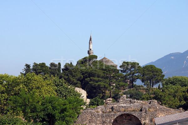 Mecset tájkép Görögország épület város kék Stock fotó © goce
