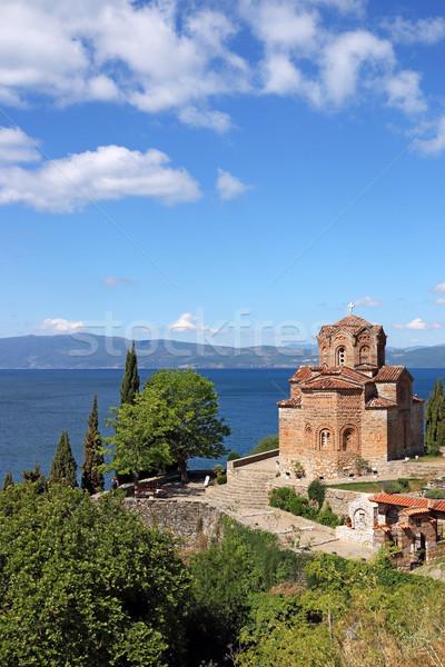 Chiesa lago Macedonia cielo natura panorama Foto d'archivio © goce