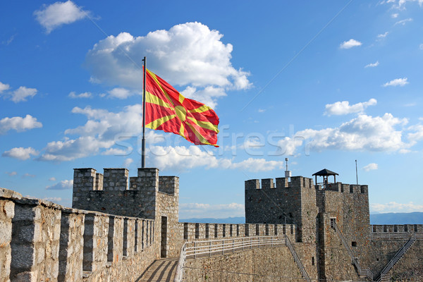 The Macedonian flag on the Samuil fortress Ohrid Stock photo © goce