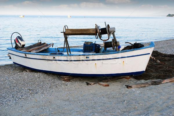 黄昏 古い 漁船 ビーチ 水 自然 ストックフォト © goce