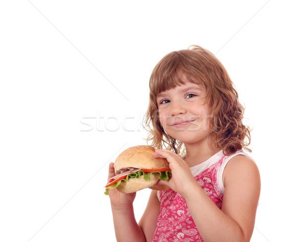 beautiful little girl with sandwich Stock photo © goce