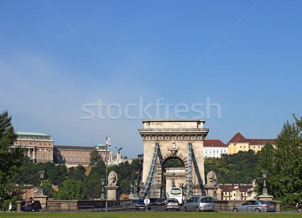 traffic on chain bridge Budapest Hungary Stock photo © goce