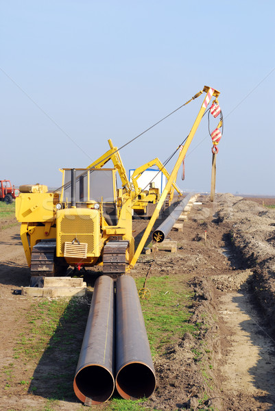 Baustelle Gas Pipeline Industrie Maschine Transport Stock foto © goce
