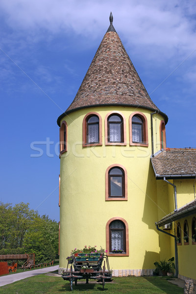 castle yellow tower East Europe Stock photo © goce