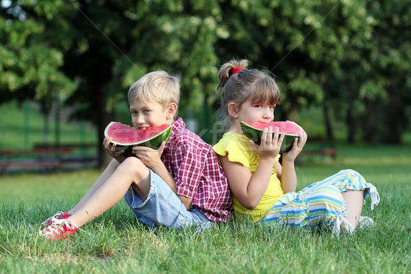 Stock fotó: Fiú · kislány · ül · fű · eszik · görögdinnye