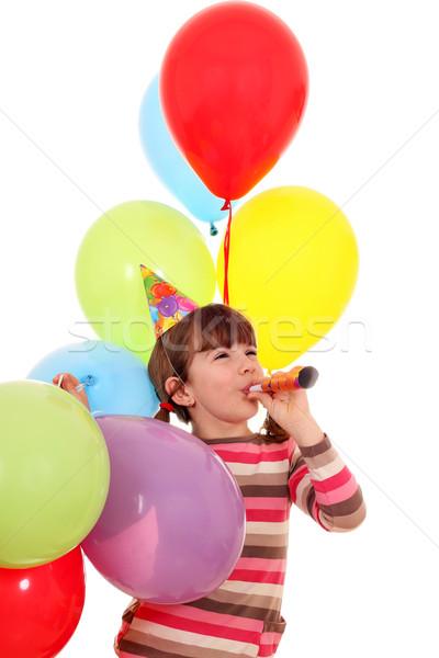 幸せ 女の子 トランペット 風船 歳の誕生日 パーティ ストックフォト © goce
