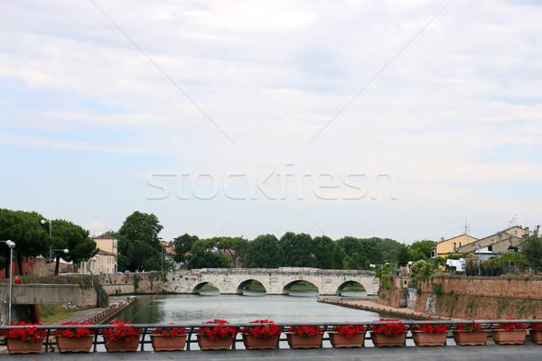 Stock photo: Tiberius bridge Rimini cityscape Italy