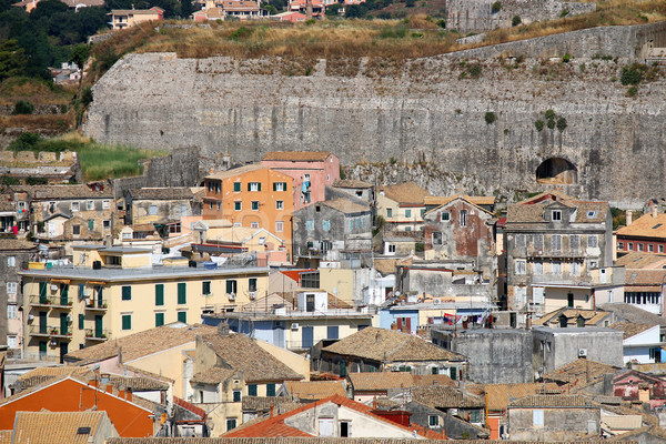 Vieux bâtiments forteresse Grèce maison rue Photo stock © goce