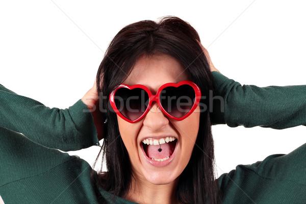 Beautiful girl língua perfurante mulher menina cabelo Foto stock © goce