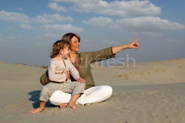 happy mother and daughter sitting on sand family scene Stock photo © goce