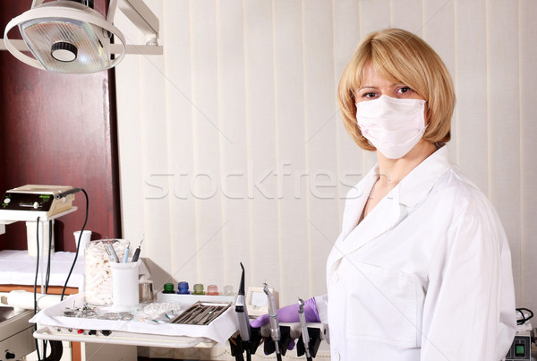 female dentist with mask Stock photo © goce