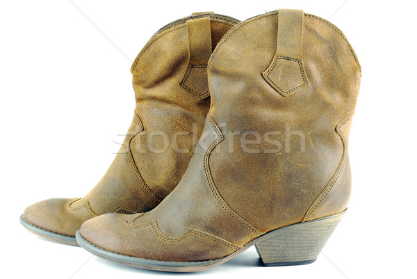 woman brown leather cowboy boots Stock photo © goce