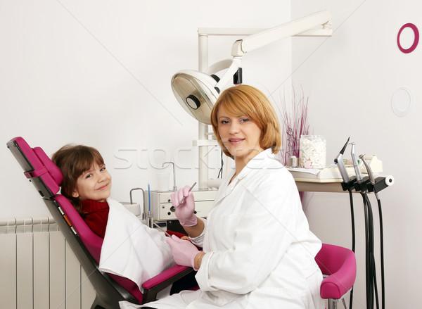 Fogorvos kislány fogorvosi rendelő orvosi gyermek szék Stock fotó © goce
