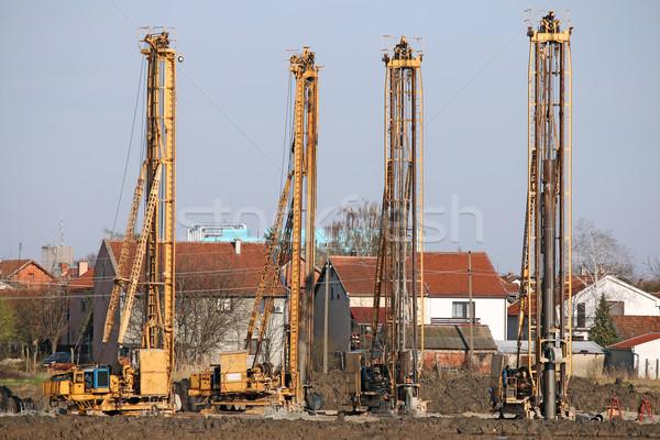 Vier krachtig hydraulisch boren bouwplaats Stockfoto © goce
