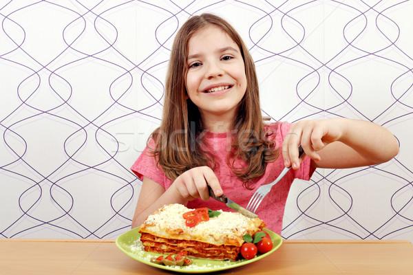 éhes kislány eszik mosoly boldog sajt Stock fotó © goce