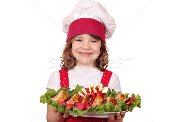 beautiful little girl cook with gourmet food Stock photo © goce