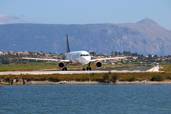 passenger airplane on Corfu airport Greece Stock photo © goce