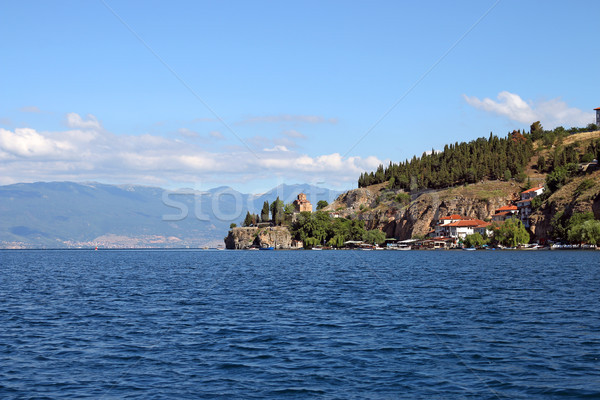 Chiesa lago Macedonia panorama cielo natura Foto d'archivio © goce