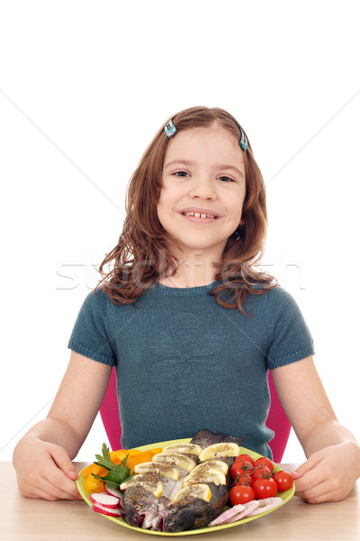 happy little girl with trout fish  Stock photo © goce