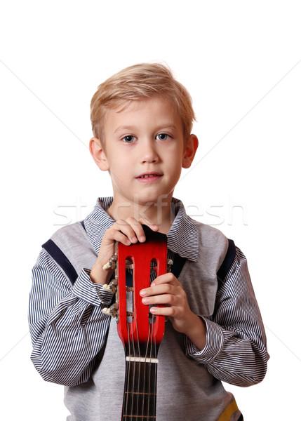 Stock photo: boy with guitar portrait