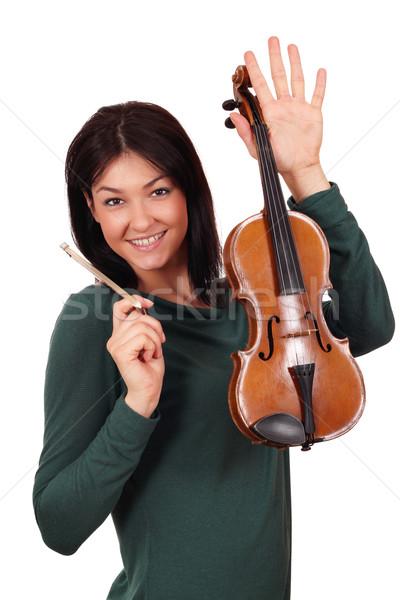 Stock fotó: Gyönyörű · lány · hegedű · pózol · mosoly · szépség · jókedv